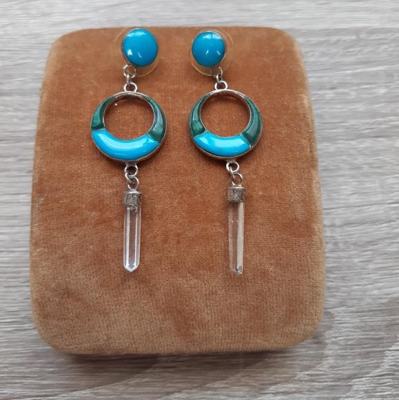 Vintage Sterling Turquoise Dangle Earrings
